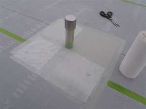 品川区 集合住宅 屋上防水 脱気筒取付け後メッシュシート補強写真