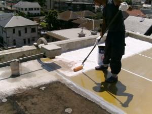 世田谷区集合住宅屋上防水工事 FRPガラスマット張り01写真