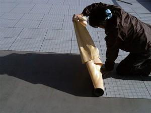 目黒区大岡山屋上防水通気緩衝シート張り1写真