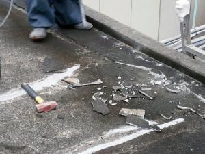 川崎市高津区 工場 屋上防水 下地のコンクリートの浮き箇所撤去2写真
