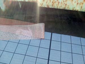 川崎市高津区 工場 屋上防水 シート端末 メッシュテープ張り1写真