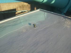川崎市高津区 工場 屋上防水 平場ウレタン防水2層目施工中写真