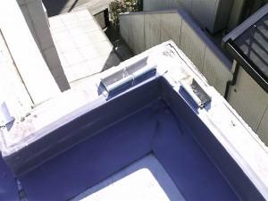 狛江市塩ビシート防水立上り塩ビシート張り完了写真
