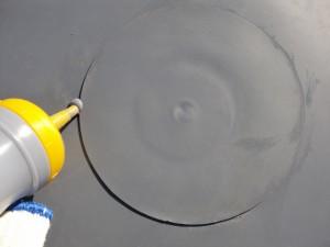 狛江市塩ビシート防水IBディスクパッチ張り写真