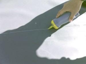 狛江市塩ビシート防水ラップ部分シーリング処理写真