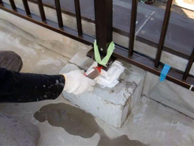横浜市港北区屋上防水 手摺り根元注入 エポキシ樹脂注入写真