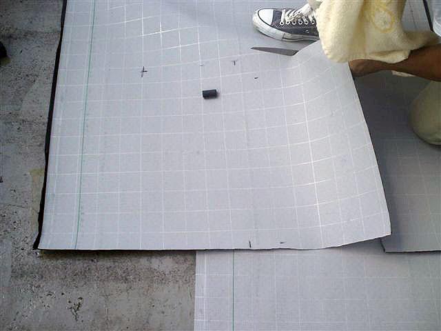 町田市 個人住宅 バルコニーFRP防水 通気緩衝シート貼り写真