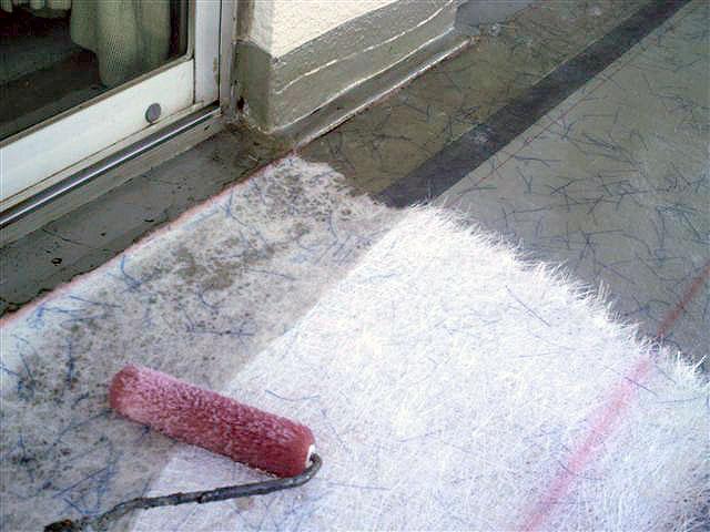 町田市 個人住宅 バルコニーFRP防水 ガラスマット貼り1写真