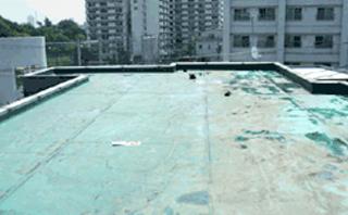 中野区賃貸マンション 塩ビシート防水施工前